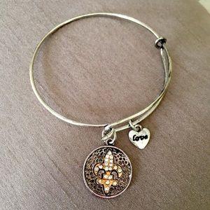 Silver Fleur de Lis Love Bangle Bracelet